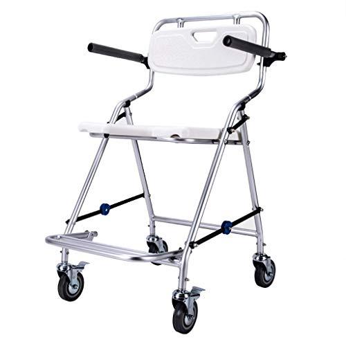 MY1MEY Commode Chair - Silla de baño para Adultos Mayores con Ruedas |Silla de Transporte de Ducha Plegable Antideslizante |para Mujeres Embarazadas o discapacitadas |Fácil de Limpiar