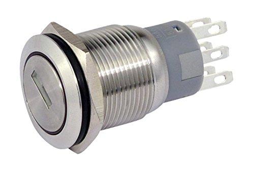 Schlüsselschalter Metall 19 mm, 2 x Schliesser, 2 x Öffner