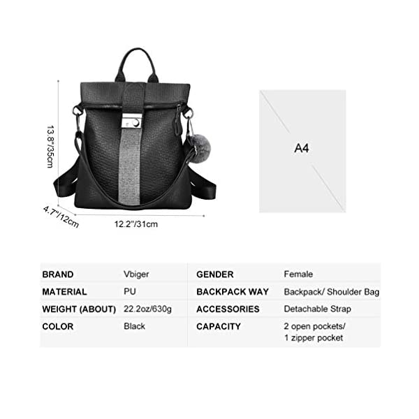 VBIGER Bolsos mochila mujer Antirrobo Mochila de Cuero PU Mano Mochilas Casual Bolsa Bandolera Messenger Bag Backpack…