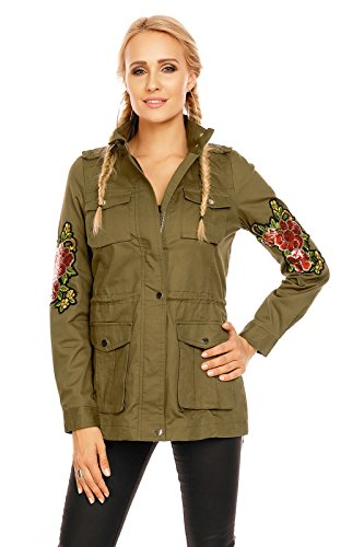 Mayaadi Damen Jacke Parka Übergangsjacke Weste Mantel Blogger Aufnäher Patches NK3113 Khaki XL