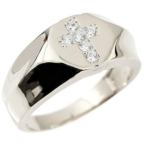 [アトラス] Atrus リング メンズ 10金 ホワイトゴールドk10 ダイヤモンド クロス 幅広 印台 指輪 ピンキーリング 14号