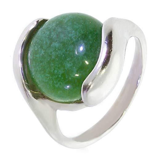 ARTIPOL Ring mit echter Jade europeische Produktion franz.Stil - Schmuck silbern-rhodiniert - Ref 42-19 - größe 53 (16.9)