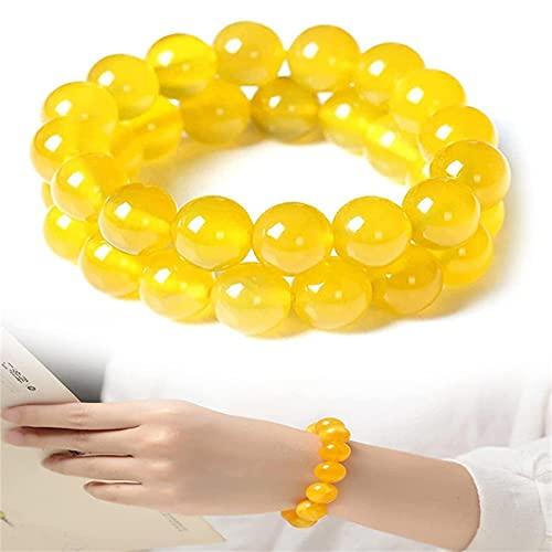 GUANJIAN 2 Pcs Yellow Jasper Body Cleansing Bracelet, Natural Crystals Healing Power Bead Bracelet, Stretch Gem Bracelet, Energy Cleansing Bracelet, Boosts Blood Circulation Metabolism 6mm