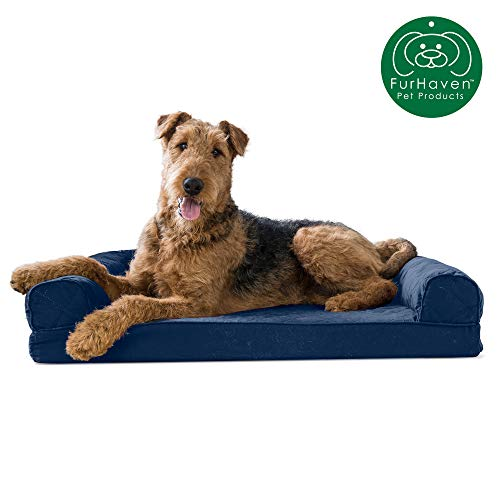 Furhaven Pet Dog Bed | Memory Foam Quilted Traditional Sofa-Style Living Room Couch Pet Bed w/ Removable Cover for Dogs & Cats, Navy, Large