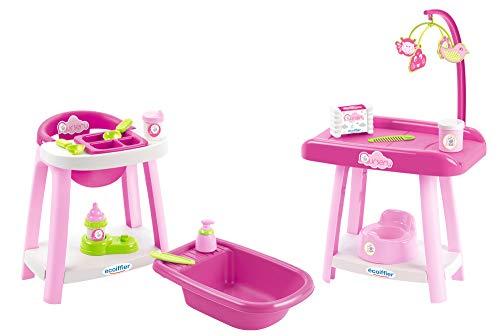 Ecoiffier – 3in1 Spielcenter für Puppen – Badewanne, Wickeltisch, Puppenhochstuhl, mit viel Puppen-Zubehör, für Kinder und Kleinkinder ab 12 Monaten, rosa