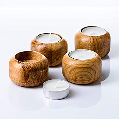Sheva Wooden Candle Holder Set - Oak Wood Tea Light Votive Candle Holders - Personalized Wood Tealight Holders for Rustic Wedding Birthday Anniversary Party - 4 Piece Set