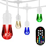 Enbrighten 39092 Vintage Seasons LED Warm White & Color Changing Caf String Lights, White, 48ft, 24 Premium Impact Resistant Lifetime Bulbs, Wireless, Weatherproof, Indoor/Outdoor, 48 ft