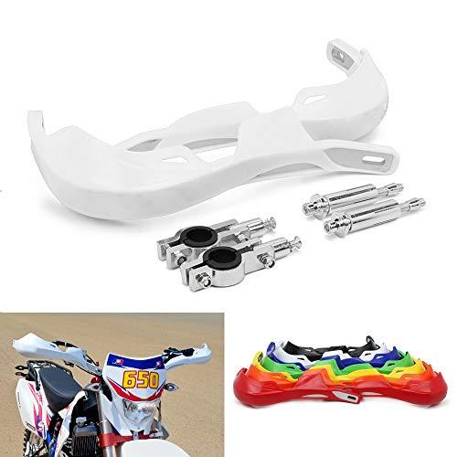 """Motorradhandschützer Aluminium-Handschützer Universal für 7/8 """"und 1 1/8"""" Bürstenstange für Off-Road-ATV Yamaha Kawasaki Suzuki Honda Motocross Dirt Bike Enduro -Weiß"""