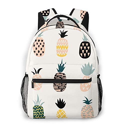 Rucksack mit Ananas-Druck, wasserdicht, Diebstahlschutz, lässiger Rucksack, USB-Ladeanschluss, Unisex