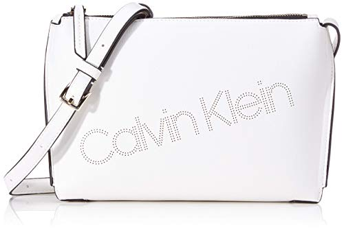 Calvin Klein Punched Ew Xbody, Bolso con Bandolera para Mujer, Blanco (White), 6x17x24 centimeters (W x H x L)