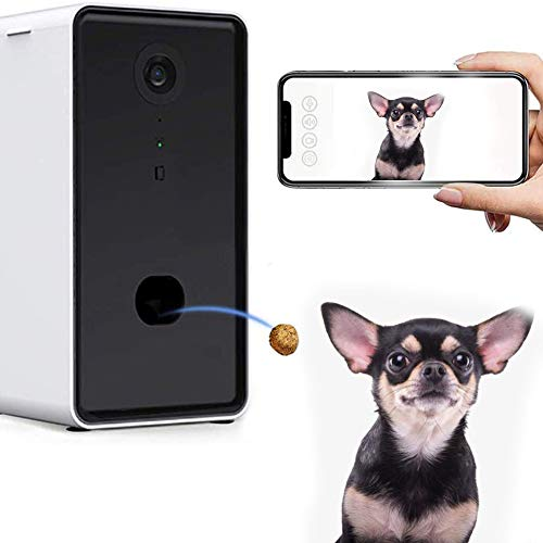 JKGHK 2 in 1 Smart Pet Kamera und Treat Dispenser Abdeckung WiFi Full-HD-Video-Kamera Hund Treat Tossing mit 2-Wege-Audio, 165 ° Vollzimmer Ansicht, Nachtsicht, entworfen für Hunde und Katzen