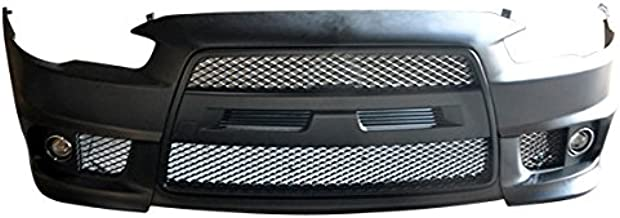 Compatible With 2008-2015 Mitsubishi Lancer EVO Front Bumper Cover Conversion + Black Grill Grille + Fog Cover PP By IKONMOTORSPORTS   2009 2010 2011 2012 2013 2014