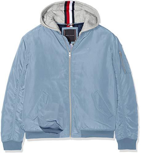 Tommy Hilfiger Jungen Essential Hooded Bomber Jacke, Blau (Coronet Blue 418), 176 (Herstellergröße: 16)