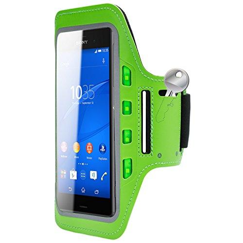 MOBILEFOX Handytasche Sport Armband mit LED-Licht & Schlüsselfach Sweatproof für 6,0 Zoll Sony Xperia Z3 Grün - Joggen Schutzhülle Smartphone Halter
