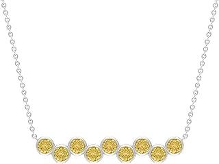 1 CT Bar Necklaces for Women with Citrine, Bezel Set Pendant (3 MM Round Cut Citrine)