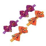 HSJWOSA Schutz 4 stücke elastische haarbogen Stirnband Halloween kürbis Haarband passt kompatibel mit Baby Toddle säugling lila und orange Dehnbar