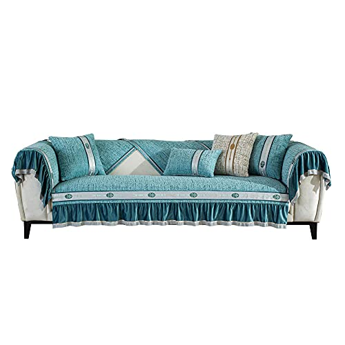 KIKIGO Funda de cojín para sofá de 3 asientos, funda de cojín de alta calidad, súper suave, fundas de cojín de alta elasticidad, color azul 3_90_240 cm