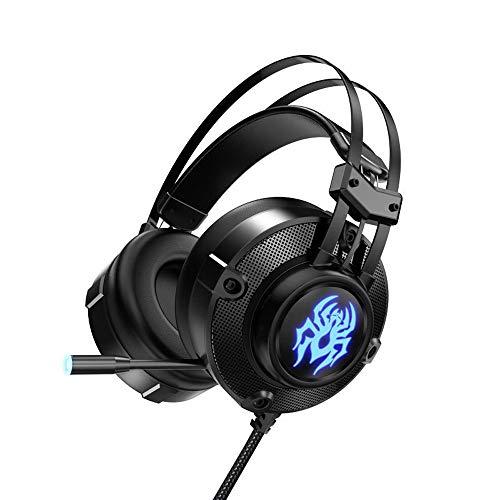 DNACC 7.1 Surround Sound LED-Licht Gaming Kopfhörer 360 ° Drehung Skalierbar Flexible Noise Cancelling-Mikrofon Gaming Headset 50MM Treiber Kabelgebunden Headphone für PS4/XBox One/PC/Mac