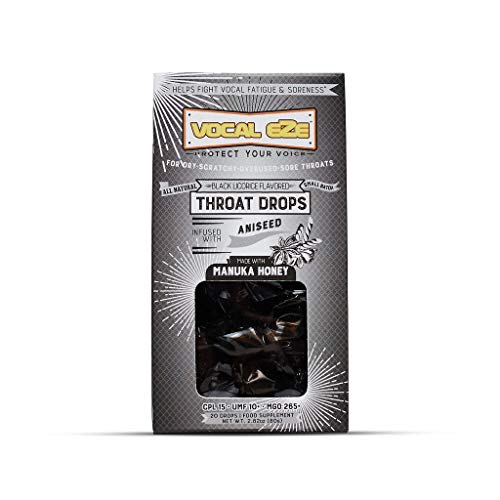 Vocal Eze Manuka Honey UMF 10+ Aniseed Cough Drops (20) | Menthol Free, Black Licorice Lozenges to Relieve Sore, Hoarse, Fatigue, Dryness of Throat | Voice Support, All Natural & Organic Ingredients