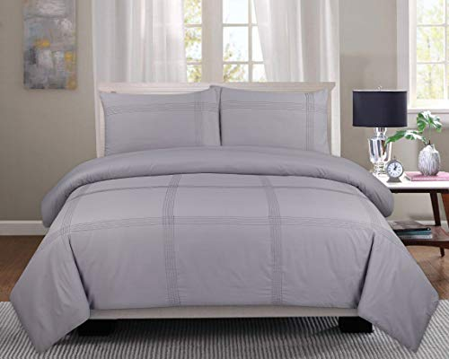 Lunaroom Hamelat Bedding Duvet Cover Set – Ultra Soft material with 2 Pillow cases (Silver, Single)