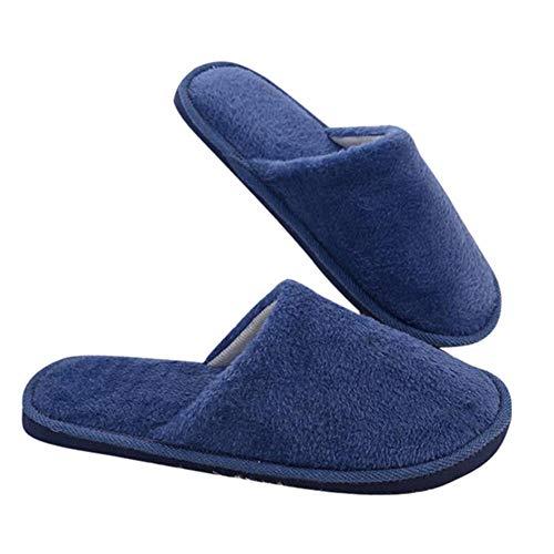RDFGYU Cálido Invierno Zapatillas Hombre Hogar Felpa Suave y esponjosa Zapatillas Interior de Pisos Antideslizantes Zapatos de Piso de la habitación,Azul,40/41