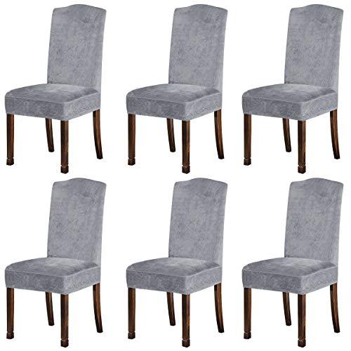 KELUINA Fundas de Felpa de Terciopelo para sillas de Comedor, Fundas para sillas elásticas, tronas de Spandex, Fundas Protectoras con Banda elástica para Comedor (Gris Plateado, 6 Piezas (M))