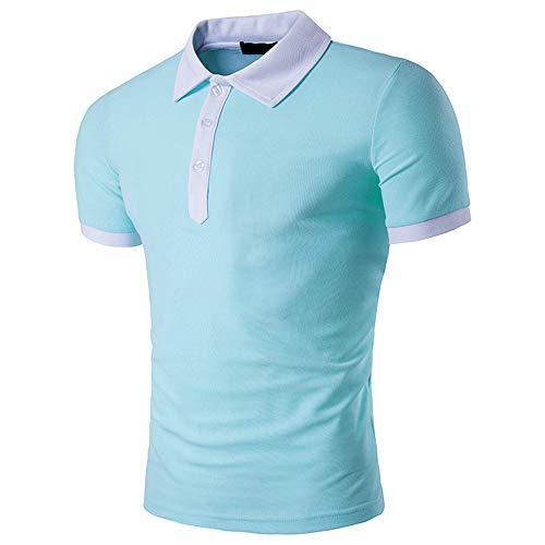 Shirt Musculosa Hombre Verano Transpirable Empalme Hombre Polo Cuello Kent Tapeta con Botones Hombre Shirt Manga Corta Cómoda Clásica Y Moderna Hombre Shirt Ocio F-Light Blue S