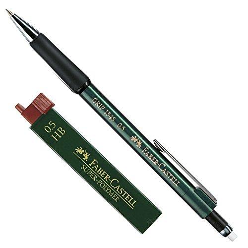 Faber-Castell 1345 - Druckbleistift Grip, Minenstärke: 0,5 mm, Schaftfarbe: Grün Metallic + Dose Ersatzminen HB