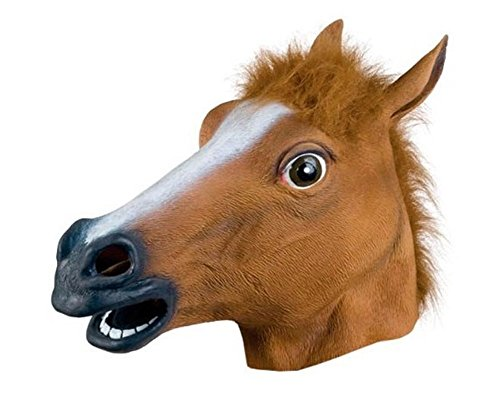 Fablcrew Masque de Tête d'animal Cheval en Latex pour Adulte Maison Hantée Dressing Costume d'halloween Masquerade Party Cosplay Props