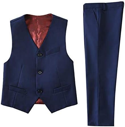 NaineLa Toddler Suits Kids Formal Wear Boys Dress Pants and Vest Set Navy Blue Suit Size 3T product image
