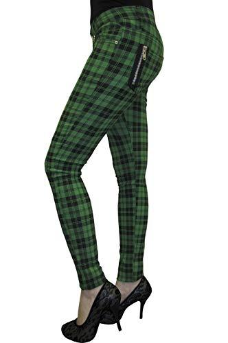 Banned Tartan Karo Rock Punk Skinny Hose, Green, EU 38 (UK 12 / 30')