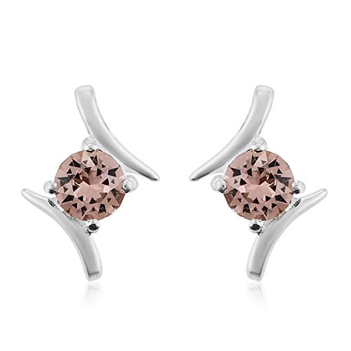 J Francis Stud Earrings Made with Swarovski Pink Crystal for Women in 925 Sterling Silver Christmas/New Year Gift for Her, TCW 4ct