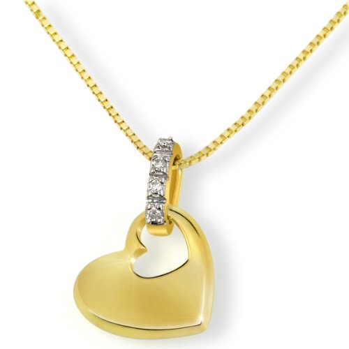 Goldmaid Damen-Halskette 9 Karat 375 Gelbgold Herz 4 Diamanten SI/H 0,02 ct. 45 cm Herzanhänger Diamantkette