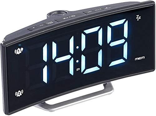 Despertador LED: Radio Despertador de proyección con Pantalla Curva, Alarma Dual y Puerto de Carga USB