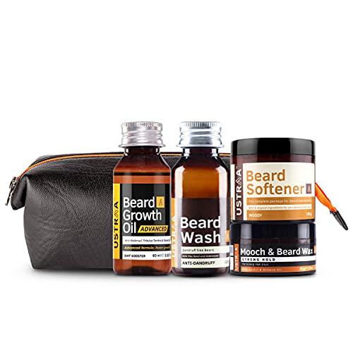 USTRAA Beard Lovers Pack - Ustraa Beard Growth Oil - Advancel 60ml, Ustraa Beard Wash 60 ml, Ustraa Mooch Wax 50g, Ustraa Beard Softener 100g, and Ustraa PU kit bag