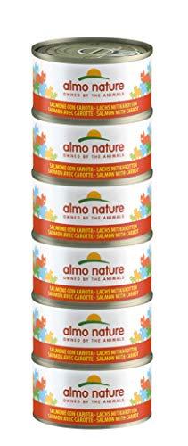 Almo Nature Mega Pack -Salmone con Carote, Cibo Umido per gatti adulti 100% Naturale. Confezione da 6 lattine x 70g