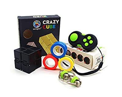 7July Handheld Mini Fidget Toy Set(4 Pack)-Magnetic Fidget Rings,Infinity Cube,Fidget Pad Cube,Flippy Chain,Stress and Anxiety Relief for Teen Kids Adults with OCD ADHD Autism by 7july