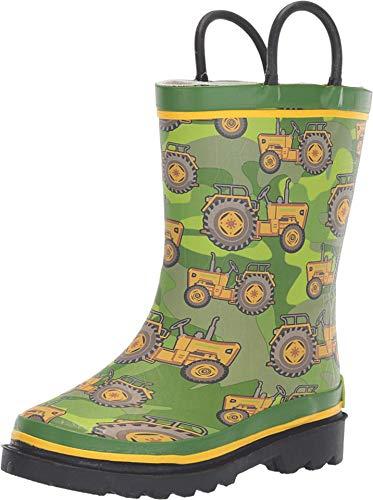 Western Chief Kids Boy's Vintage Tractors Rain Boot (Toddler/Little Kid) Green 2-3 Little Kid M