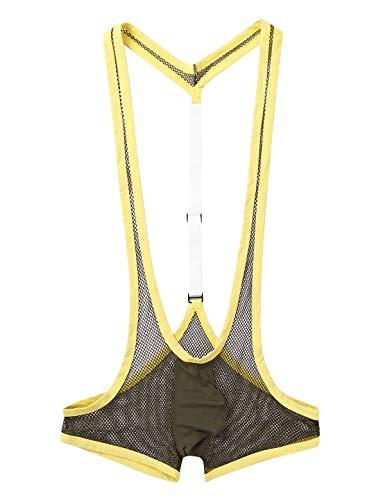 Freebily Shorts de Plage Homme Maillot de Bain Piscine Une Pièce Justaucorps de Sport Gym Combinaison String Résille Y-Dos Jarretelle Jockstrap Bulge Armée Vert Taille Unique