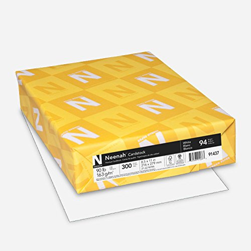 "Neenah Cardstock, 8.5"" x 11"", Heavy-Weight, White, 94 Brightness, 300 Sheets (91437)"