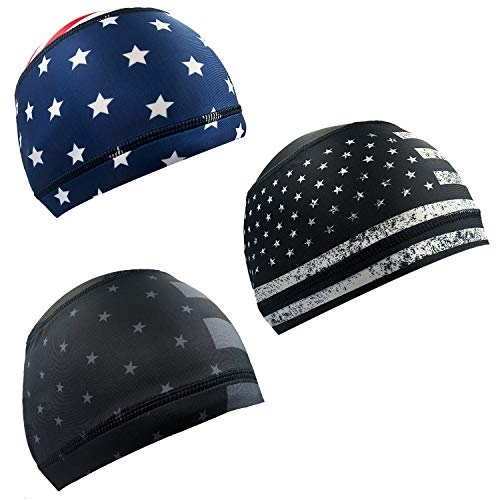 Alpurple 3 PCS American Flag Cycling Skull Caps Helmet Liner-American Flag Cooling Skull Caps-Sweat Wicking Running Cycling Hats for Men and Women Fitting Jogging Exercise