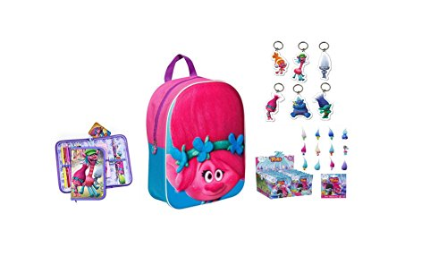 Doxa Toys  DOXATROLLSBACKPACKSET2, Set per la scuola  rosa Pink, Blue and Green