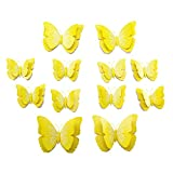 Kentop 12pcs 3D Amarillo Mariposa Pegatinas DIY Decoración pared Cortina Cocina Nevera (Pin)