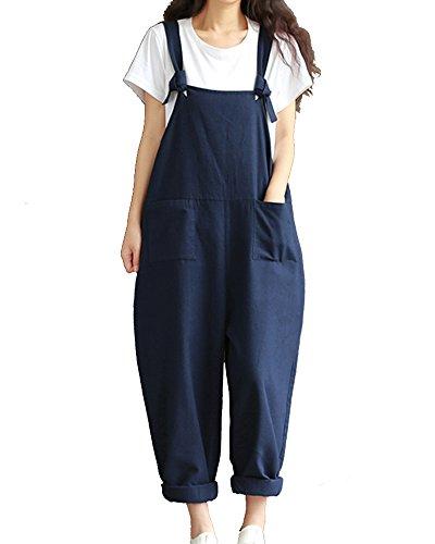 Damen Lange Lässig Baggy Taschen Harem Playsuit Hose Jumpsuits Overalls Latzhosen Dunkelblau 3XL