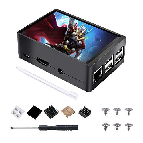 for Raspberry Pi Touchscreen 3,5 Inch Zoll Display TFT Monitor LCD 320x480 Auflösung mit Gehäuse Case und 3 Stück Heatsink Kupferkühlkörper Touch Pen für Raspberry Pi 3B + / 3B / 2B + / 2B TS11