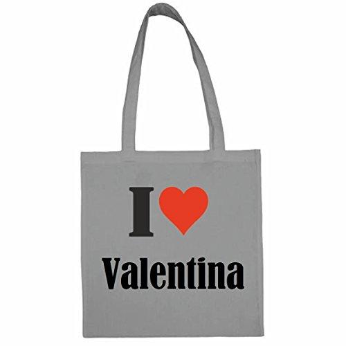 Tasche I Love Valentina Größe 38x42 Farbe Grau Druck Schwarz