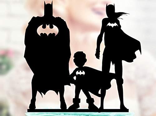 Promini Batman und Batgirl mit Kindern, Superhelden-Familie Topper, Superhelden-Silhouette,...