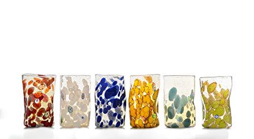 GOTO Set 6 Bicchieri Colorati Vetro di Murano 350 millilitri con Foglia Argento, Lavorati a Mano da un Maestro Vetraio Veneziano (Collezione Canaletto)