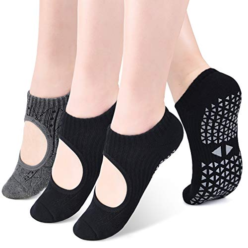 VBIGER Calcetines Yoga Antideslizantes para Mujeres Calcetines Deportivos para Ejercicio Interior | Pilates | Yoga | Ballet | Fitness 3 Pares