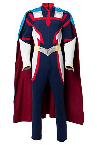 helymore Hommes Film Anime Cosplay All Might Costume Deguisement Carnaval Halloween Cape Uniforme de Heros, L